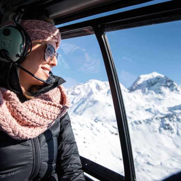 femme helicoptere mont blanc