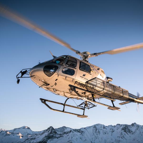 helicoptere ciel chamonix
